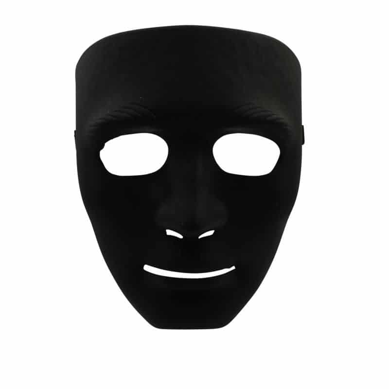 Kunststoff_Maske_Ausdruckslos_schwarz_Partymaske